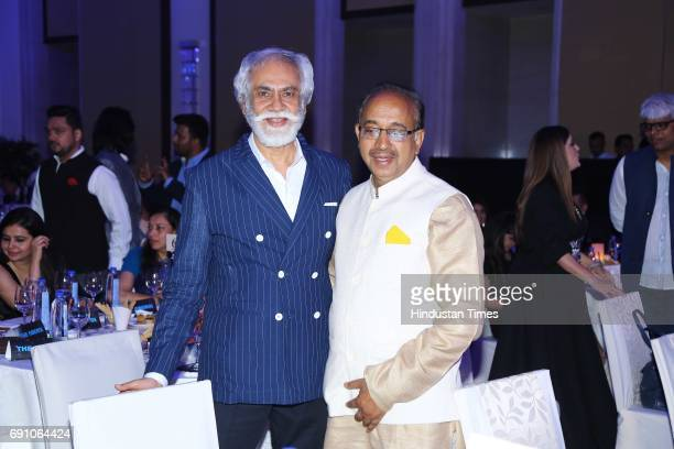 Sports Minister Vijay Goel and FDCI President Sunil Sethi during the Hindustan Times Game Changer Awards 2017 at Hotel Oberoi on May 24 2017 in...