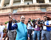 Sports Minister Vijay Goel arrives at the opening day of the Monsoon Session of the Parliament on July 18 2016 in New Delhi India A total of 25 bills...