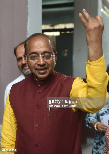 Sports Minister Vijay Goel at a polling booth after casting his vote for MCD Election 2017 in New Delhi