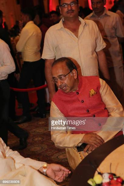 Sports Minister Vijay Goel during the wedding reception of Ishani Sharma and Sachin Sharma on June 20 2017 in New Delhi India Hemant Sharma's...