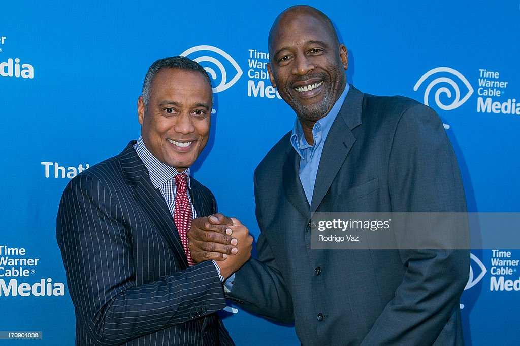 Sports, News and Local Programming President David Rone (L) and commentator <a gi-track='captionPersonalityLinkClicked' href=/galleries/search?phrase=James+Worthy&family=editorial&specificpeople=212863 ng-click='$event.stopPropagation()'>James Worthy</a> attend the Time Warner Cable Media (TWC Media) 'View From The Top' Upfront at Vibiana on June 19, 2013 in Los Angeles, California.