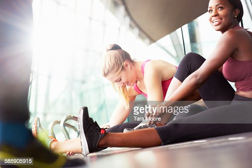 sports people stretching