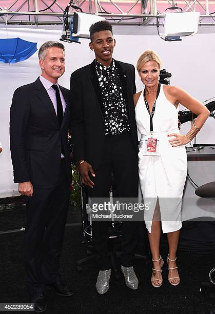 Sports personality Bill Simmons NBA player Nick Young and TV host Michelle Beadle attend The 2014 ESPYS at Nokia Theatre LA Live on July 16 2014 in...