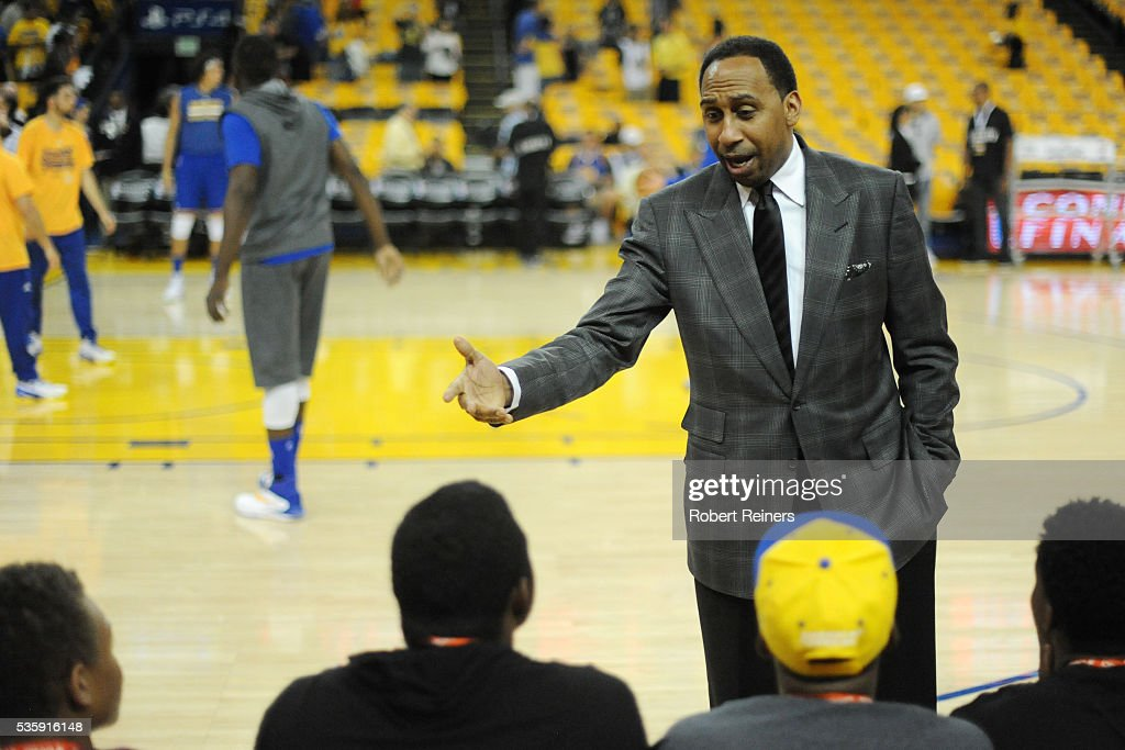 TV sports personality <a gi-track='captionPersonalityLinkClicked' href=/galleries/search?phrase=Stephen+A.+Smith&family=editorial&specificpeople=803159 ng-click='$event.stopPropagation()'>Stephen A. Smith</a> speaks with youth from the Hidden Genius Project prior to Game Seven of the Western Conference Finals between the Golden State Warriors and the Oklahoma City Thunder during the 2016 NBA Playoffs at ORACLE Arena on May 30, 2016 in Oakland, California.