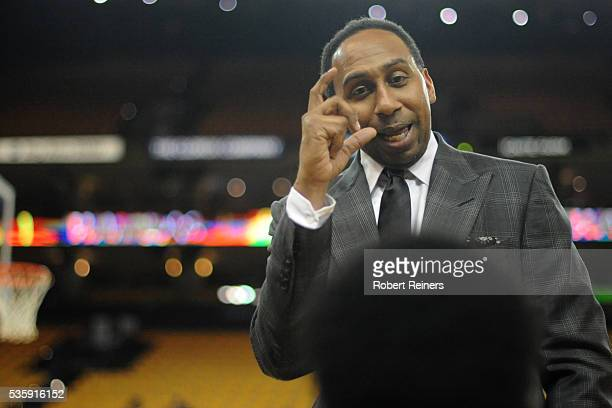 TV sports personality Stephen A Smith speaks with youth from the Hidden Genius Project prior to Game Seven of the Western Conference Finals between...