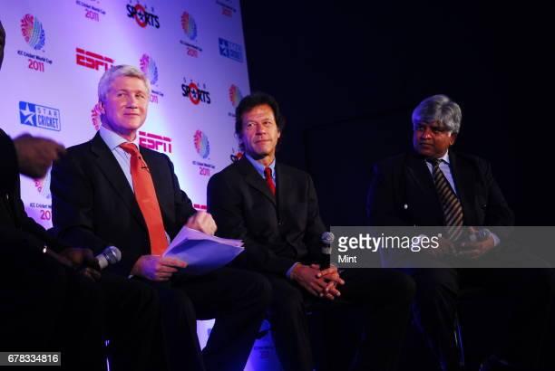 ESPN STAR Sports presenter Alan Wilkins Pakistan's Imran Khan and Sri Lanka's Arjuna Ranatunga all former captains that won the cricket world cup for...