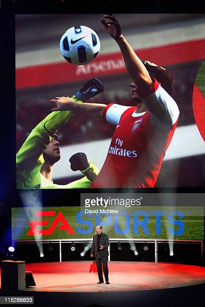 Sports president Peter Moore demonstrates a FIFA soccer game at the Electronic Entertainment Expo on June 6 2011 in Los Angeles California More than...