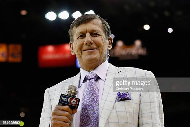 TNT sports reporter Craig Sager walks on the court following game one of the NBA Western Conference Finals between the Oklahoma City Thunder and the...
