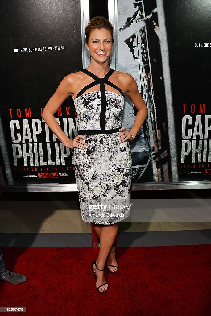 Sports reporter Erin Andrews arrives at the Los Angeles premiere of 'Captain Phillips' at the Academy of Motion Picture Arts and Sciences on September 30, 2013 in Beverly Hills, California.