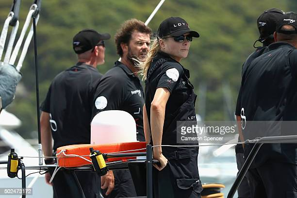 Sports reporter Erin Molan is seen crewing onboard Supermaxi Perpetual Loyal during the 2015 Sydney to Hobart on December 26 2015 in Sydney Australia