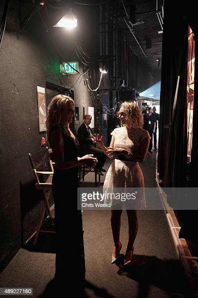Sports reporter Michelle Beadle and professional dancer Kym Johnson backstage at the American Humane Association's 5th Annual Hero Dog Awards 2015 at...