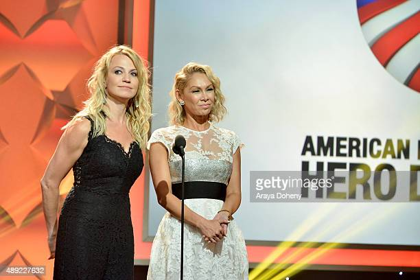 Sports reporter Michelle Beadle and professional dancer Kym Johnson onstage at the American Humane Association's 5th Annual Hero Dog Awards 2015 at...