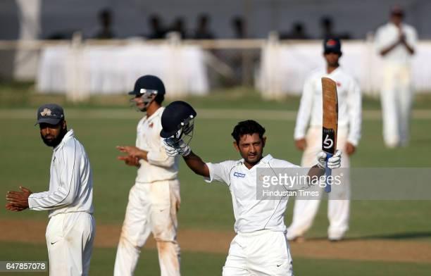 Sports Saurashtra cricketer Pratik Mehta celebrates after hiting a century during the 3rd day of Ranji Trophy Match between Mumbai Saurashtra at BKC...