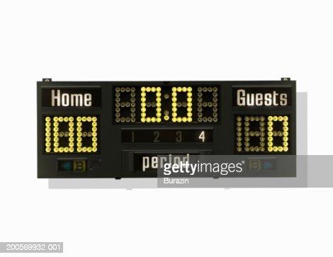 Sports scoreboard on white background