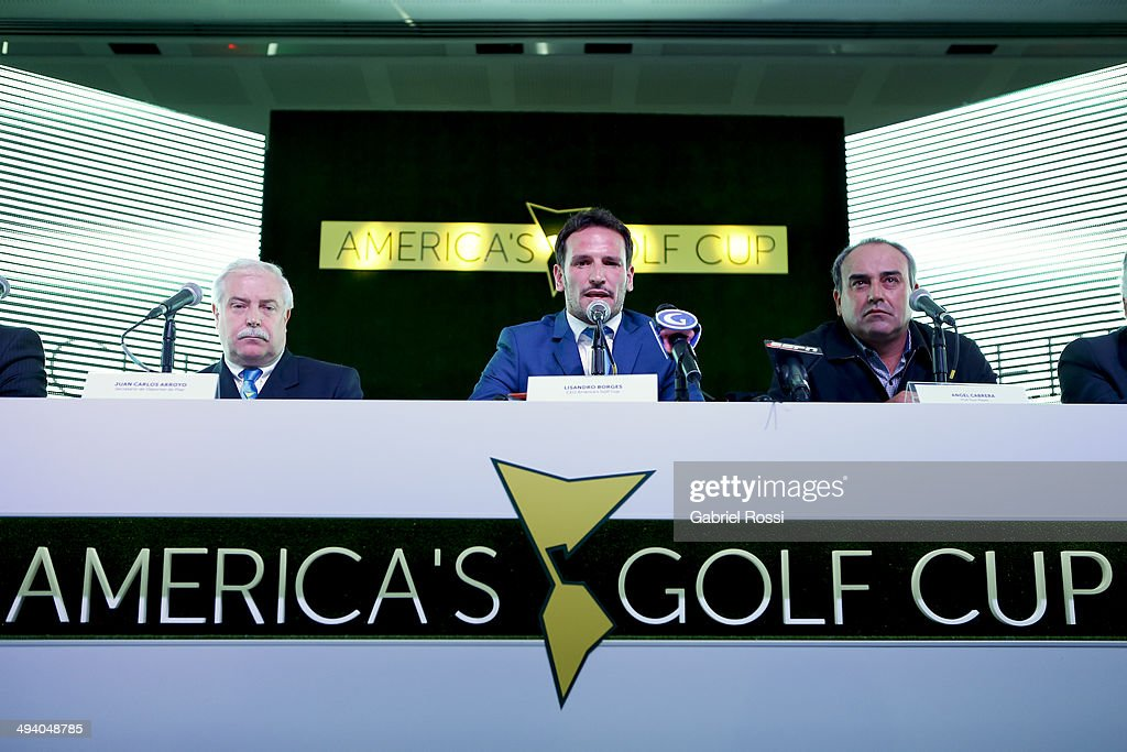 Sports Secretary of Pilar Juan Carlos Arroyo CEO of America's Golf Cup Lisandro Borges and PGA Tour player Angel Cabrera attend a press conference to...