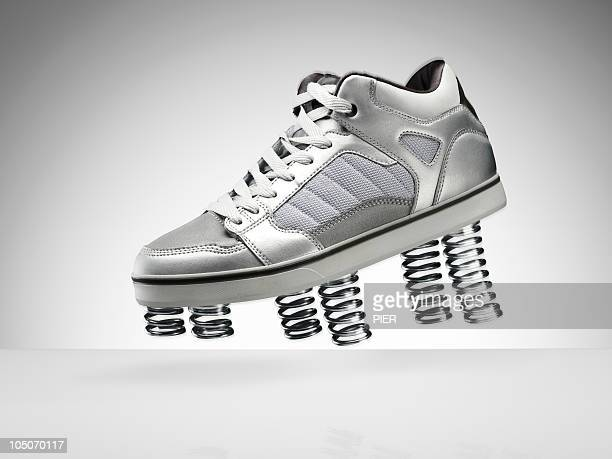 A sports shoe with springs