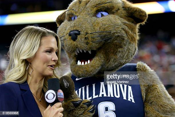 Sports sideline reporter Allie LaForce interviews the Villanova Wildcats mascot during a practice session for the 2016 NCAA Men's Final Four at NRG...