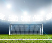 A soccer stadium with a marked green grass pitch and goal posts in the nighttime under illuminated floodlights - 3D render