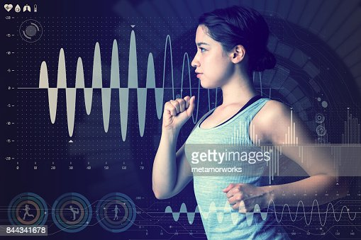sports technology concept. running woman and various technological abstract graphics. sport science. : Stock Photo