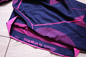 Sports thermal underwear. For sports, outdoor activities and travel in cold weather. Details, material, close-up.
