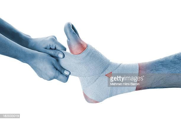Sport trauma di un uomo a piedi