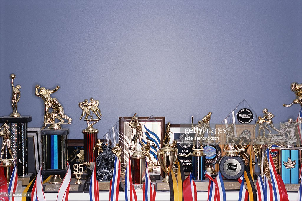 Sports trophy collection on shelf : Stock Photo