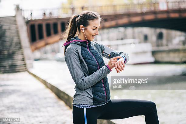 Sports woman and wearable technology
