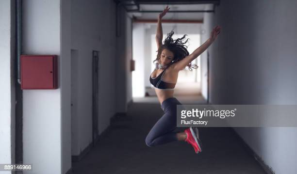 Sports woman jumping
