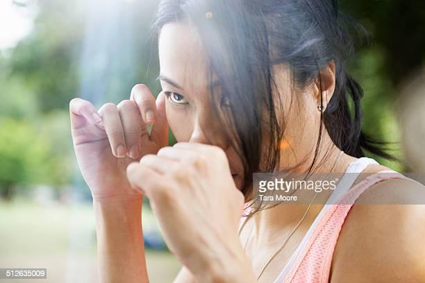 sports woman kick boxing