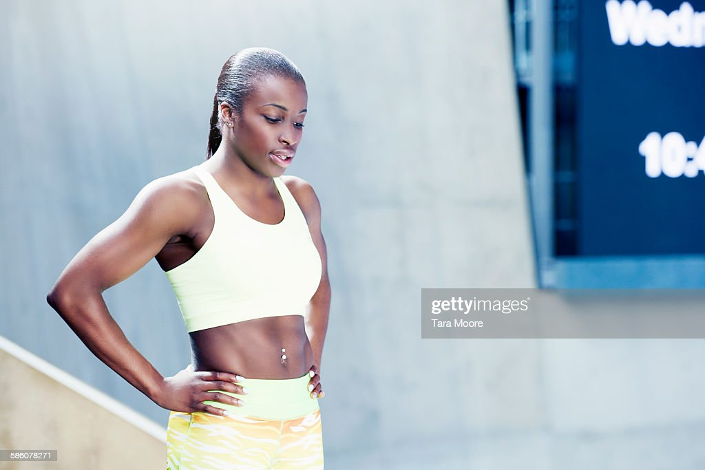 sports woman preparing for event : Stock Photo