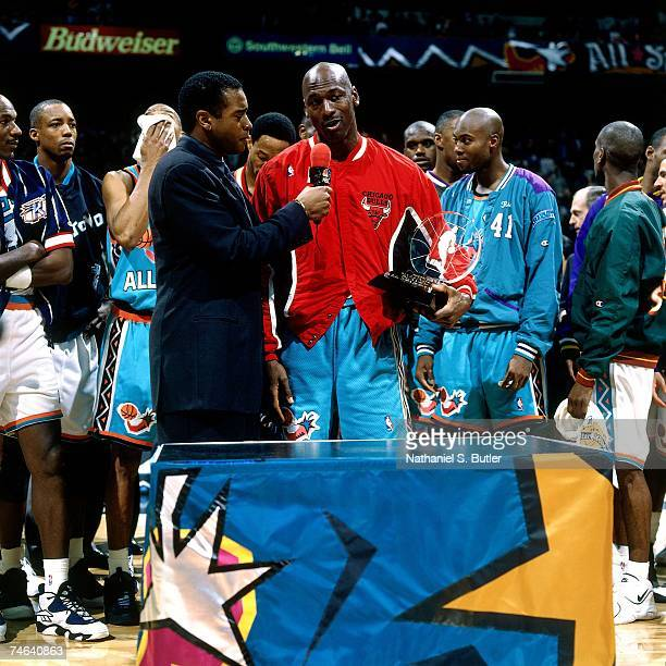 Sportscaster Ahmad Rashad interviews 1996 AllStar MVP Michael Jordan on February 11 1996 at the Alamo Dome in San Antonio Texas NOTE TO USER User...