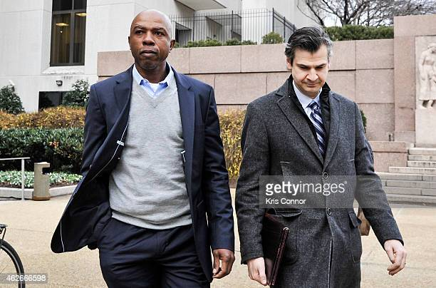 Sportscaster and former NBA player Greg Anthony leaves the H Carl Moultrie I Courthouse with his lawyer Danny Onorato after being arraigned on a...