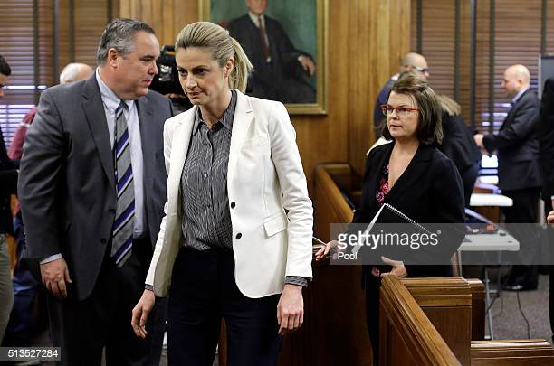 Sportscaster and television host Erin Andrews center leaves the courtroom during a break March 3 in Nashville Tennessee Andrews is taking legal...