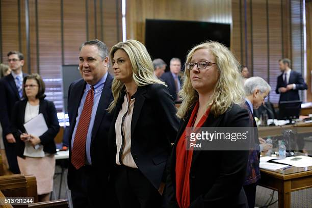 Sportscaster and television host Erin Andrews stands as the jury enters the room March 4 in Nashville Tennessee Andrews is taking legal action...