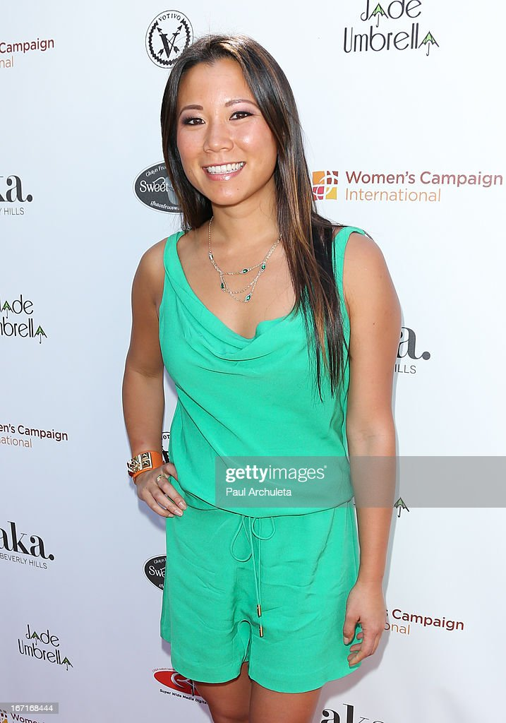 Sportscaster Angela Sun attends the 'Spring To Make A Difference' fundraiser event on April 21, 2013 in Beverly Hills, California.