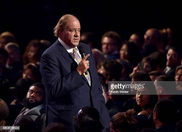 Sportscaster Chris Berman speaks in the audience during The 2015 ESPYS at Microsoft Theater on July 15 2015 in Los Angeles California