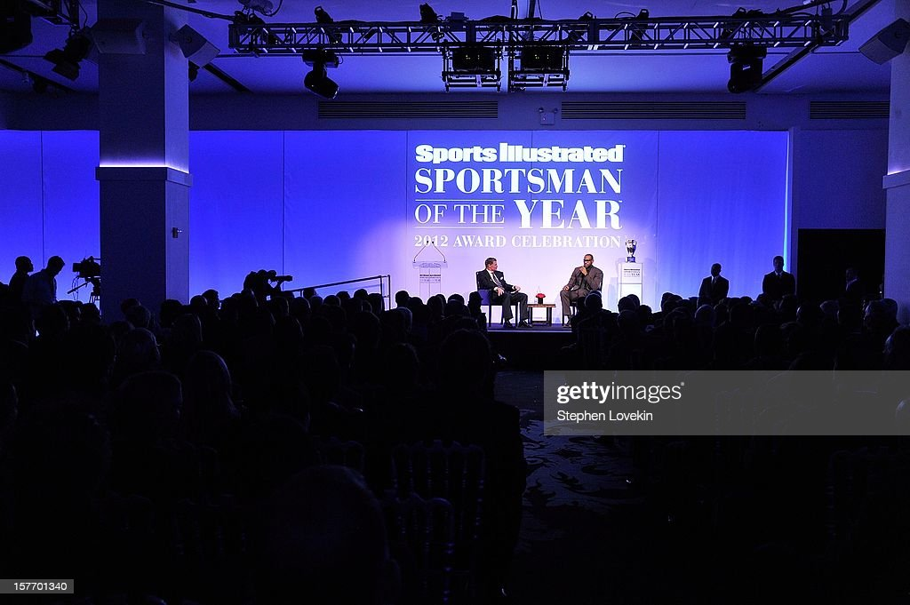Sportscaster Dan Patrick (L) and 2012 Sportsman of the Year LeBron James speak onstage at the 2012 Sports Illustrated Sportsman of the Year award presentation at Espace on December 5, 2012 in New York City.