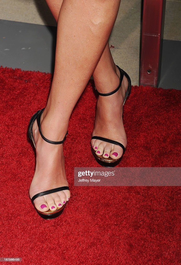 Sportscaster <a gi-track='captionPersonalityLinkClicked' href=/galleries/search?phrase=Erin+Andrews&family=editorial&specificpeople=834273 ng-click='$event.stopPropagation()'>Erin Andrews</a> (shoe detail) at the Los Angeles premiere of 'Captain Phillips' at the Academy of Motion Picture Arts and Sciences on September 30, 2013 in Beverly Hills, California.