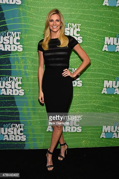 Sportscaster Erin Andrews attends the 2015 CMT Music Awards Press Preview Day at the Bridgestone Arena on June 9 2015 in Nashville Tennessee