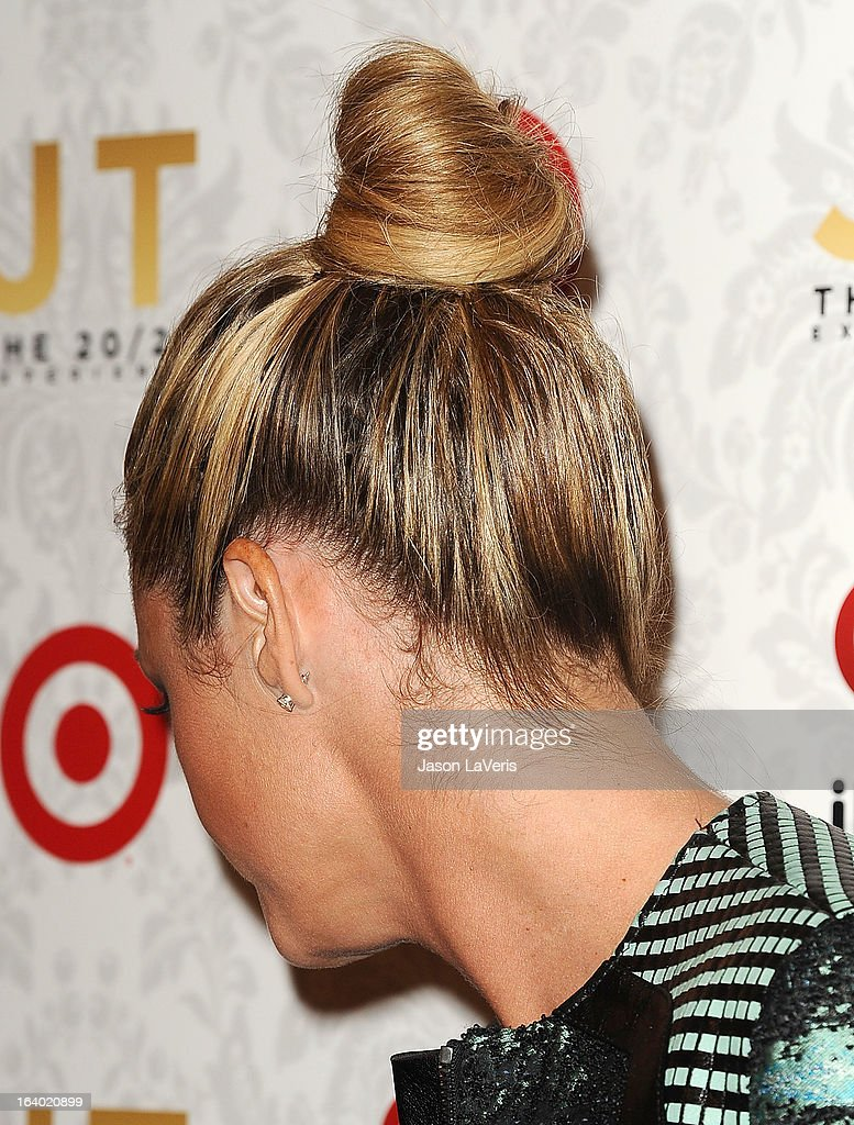 Sportscaster Erin Andrews (hair detail) attends the '20/20' album release party with Justin Timberlake at El Rey Theatre on March 18, 2013 in Los Angeles, California.