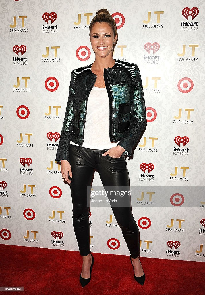 Sportscaster Erin Andrews attends the '20/20' album release party with Justin Timberlake at El Rey Theatre on March 18, 2013 in Los Angeles, California.