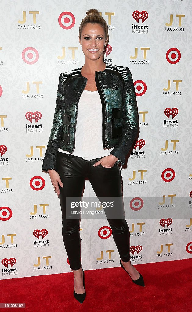 Sportscaster <a gi-track='captionPersonalityLinkClicked' href=/galleries/search?phrase=Erin+Andrews&family=editorial&specificpeople=834273 ng-click='$event.stopPropagation()'>Erin Andrews</a> attends the iHeartRadio '20/20' album release party with Justin Timberlake presented by Target at the El Rey Theatre on March 18, 2013 in Los Angeles, California.