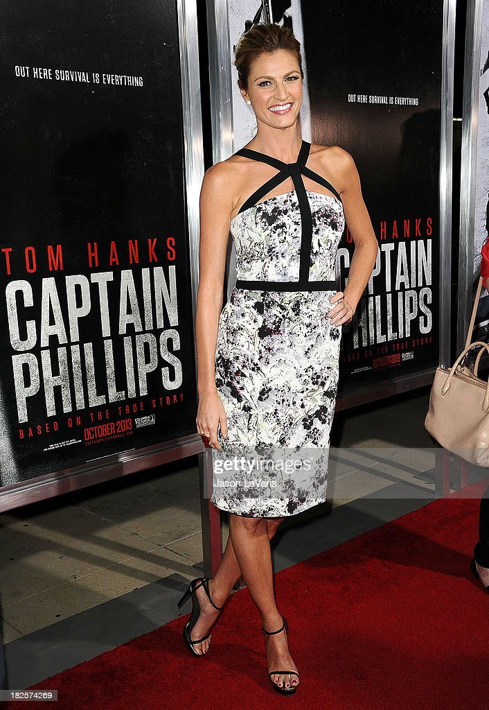Sportscaster <a gi-track='captionPersonalityLinkClicked' href=/galleries/search?phrase=Erin+Andrews&family=editorial&specificpeople=834273 ng-click='$event.stopPropagation()'>Erin Andrews</a> attends the premiere of 'Captain Phillips' at the Academy of Motion Picture Arts and Sciences on September 30, 2013 in Beverly Hills, California.