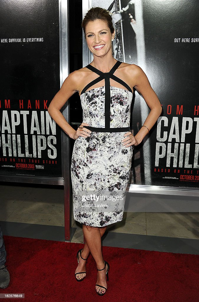 Sportscaster Erin Andrews attends the premiere of 'Captain Phillips' at the Academy of Motion Picture Arts and Sciences on September 30, 2013 in Beverly Hills, California.