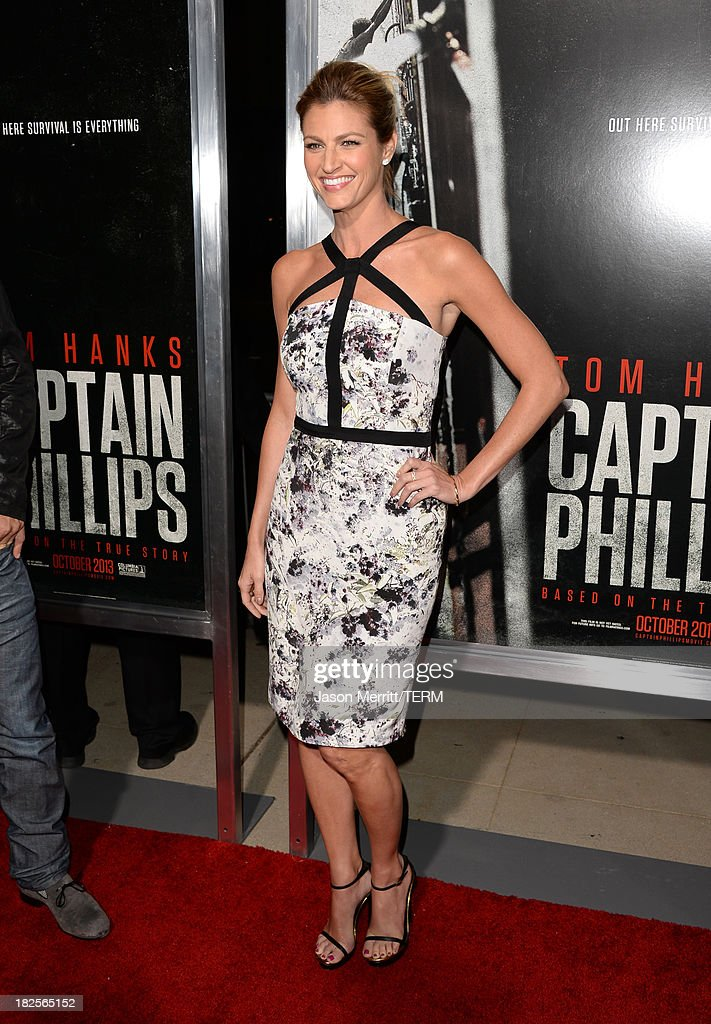 Sportscaster Erin Andrews attends the premiere of Columbia Pictures' 'Captain Phillips' at the Academy of Motion Picture Arts and Sciences on September 30, 2013 in Beverly Hills, California.