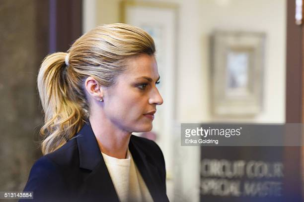 Sportscaster Erin Andrews enters the courtroom on February 29 2016 in Nashville Tennessee Andrews is taking legal action against the operator of the...