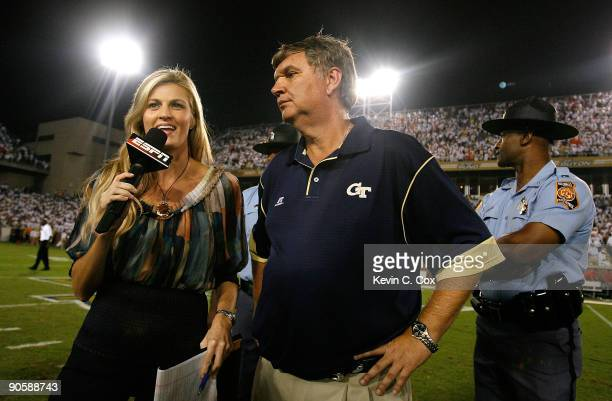 ESPN sportscaster Erin Andrews interviews head coach Paul Johnson of the Georgia Tech Yellow Jackets after their 3027 over the Clemson Tigers at...