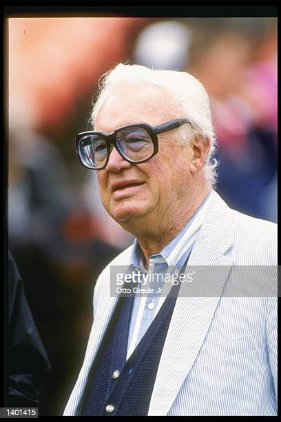 Sportscaster Harry Caray looks on during a game between the Chicago Cubs and the San Francisco Giants at Candlestick Park in San Francisco California...