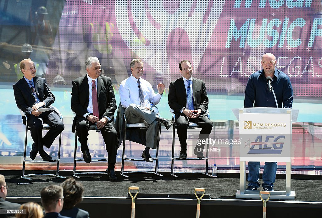 Sportscaster Jim Gray, Clark County Commissioner Steve Sisolak, MGM Resorts International Chairman and CEO Jim Murren, President and CEO of AEG Dan Beckerman and UFC President Dana White attend a groundbreaking for a USD 375 million, 20,000-seat sports and entertainment arena being built by MGM Resorts International and AEG on May 1, 2014 in Las Vegas, Nevada. The arena is scheduled to open in early 2016.