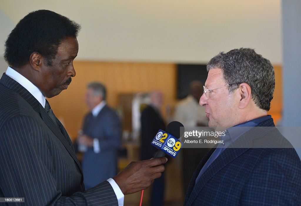 Sportscaster Jim Hill and Los Angeles Dodgers radio broadcaster Charley Steiner attend a private luncheon hosted by The National Radio Hall of Fame...
